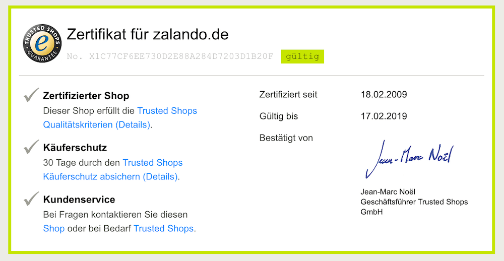 Trusted Shop Zertifikat für Zalando.de